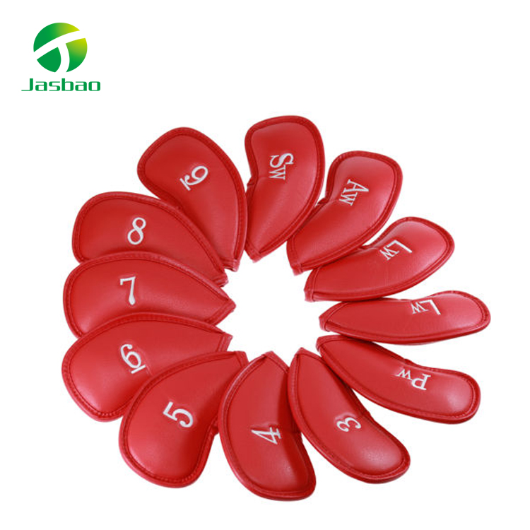 12x Red PU Leather Golf Iron Head Covers Club Putter Headcovers 3-9 AW-SW Set