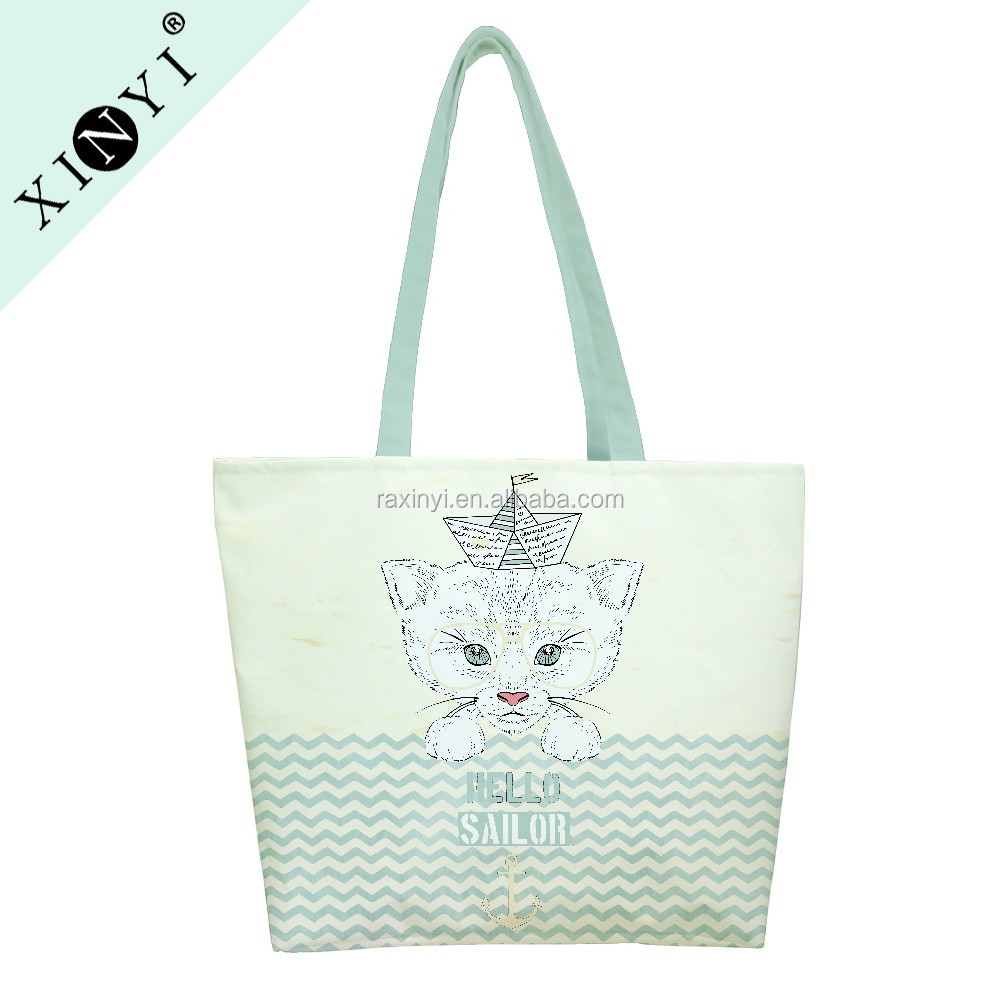 Eco canvas cotton handle custom tote bag personalized travel extra large pet shopping bag with logo