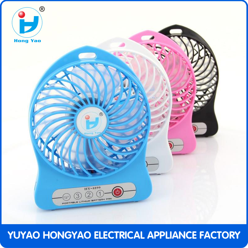 Hot Sell Plastic portable Mini Rechargeable Fan with led lamp