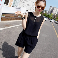 W50508Q 2015 summer new Korean large size women chiffon sleeveless vest +shorts suit female