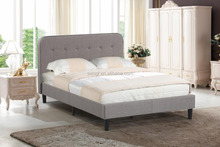 Upholstered Button Tufted Platform Bed with Wooden Slats, Queen ,. bed's footboard, frame, legs, wooden packaged in 1 carton