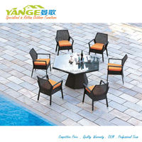 Resin outdoor garden furniture rattan glass top cafe table chair set