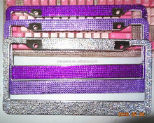 5 rows rhinestone bling license plate frame custom plastic car license plate frames,metal car frames ,car license