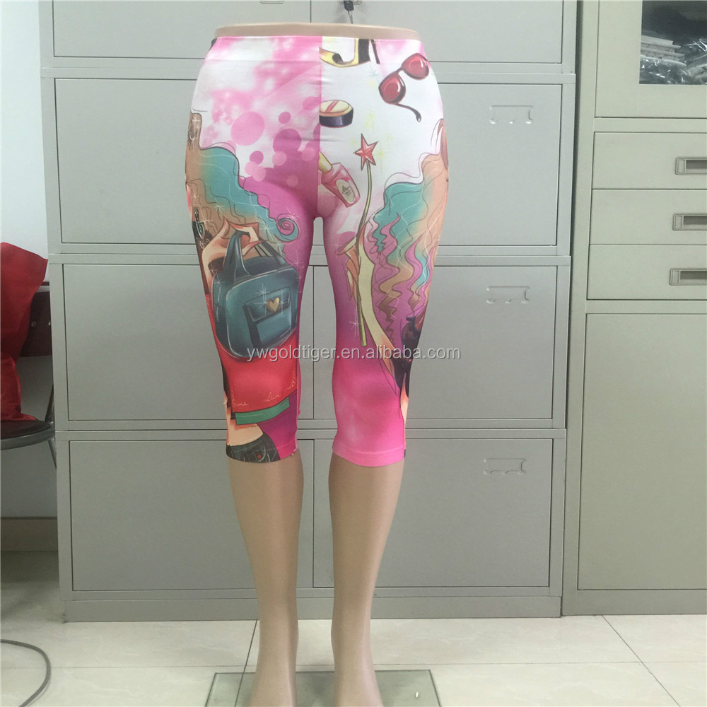 Fashion ladies style print cropped trousers leggings