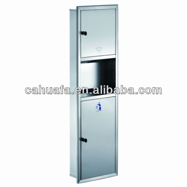 Recessed 304 Stainless Steel Paper Dispenser with Dustbin
