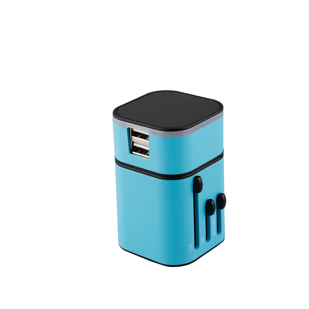 Universal International Plug Adapter All in One 2 USB Port World Travel AC Power Charger Adaptor with AU US UK EU Plug