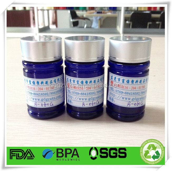 transparent blue plastic pill bottle,60cc herbal capsules PET round bottle,plastic bottle packaging size #0 capsules