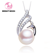 Bright Moon Newest Design Swan Pendant Pearl Jewelry Necklace,Nature Freshwater Pearl,Real 925 Sterling Silver For Women Gifts