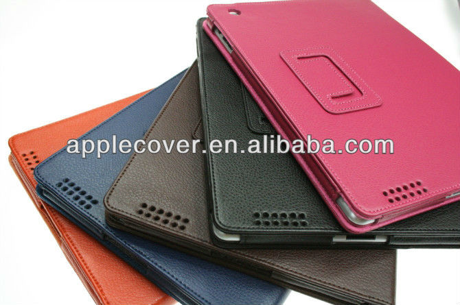 Litchi Pattern for leather ipad 4 smart cover case
