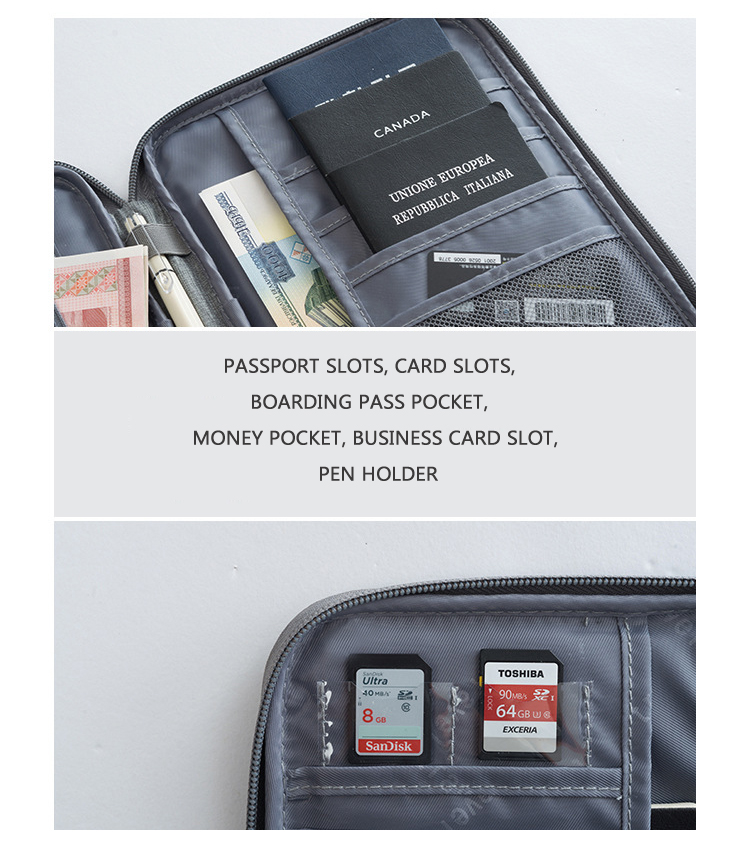 Customized Canvas Travel Smart RFID Passport Credit Card Holder Wallet