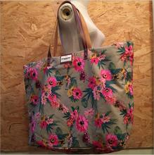 DM 828 Beach Tote Floral Print Slap-up Zipper Leather Fashion Street Snap Decoration Large Size Canvas Tote Bag