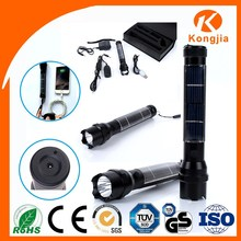 3W led Aluminium Ultra Bright Rechargeable Led Torch Flashlight Solar Energy Strong Light Flashlight