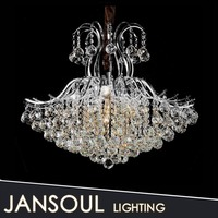 Living room lamp with big crystals ball hanging flush mount light