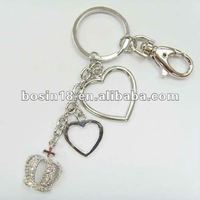 fashion crown and heart shaped charm keychain