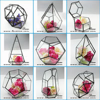 Latest new arrival glass candle globes, glass globe hanging terrarium, beveled hanging geometric glass terrarium box