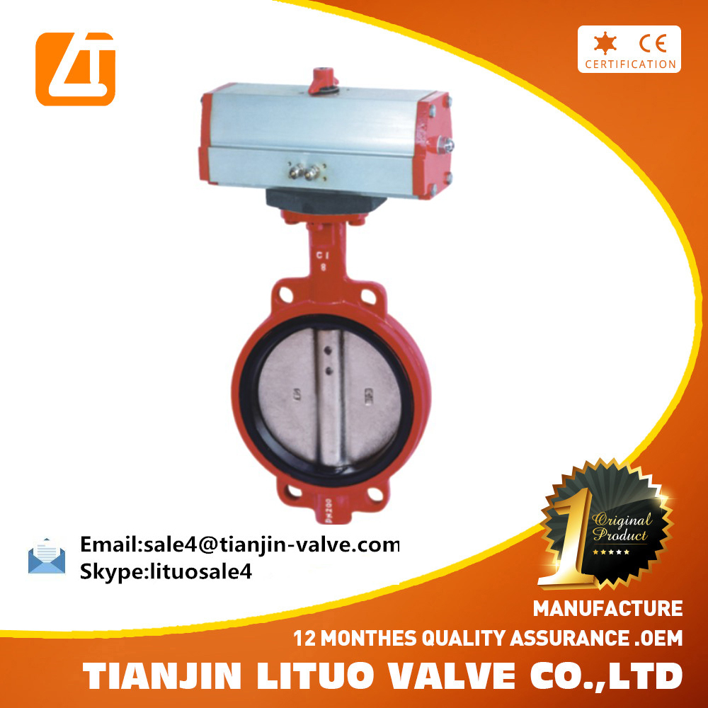 dn150 Ductile Iron Electric Wafer Type Pneumatic Center Line Butterfly Valve cast iron epdm seat buttterfly valve