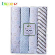 Super soft 4 pack baby blanket 100% cotton baby flannel blanket