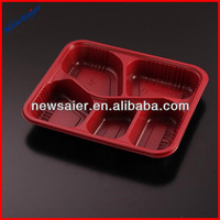 disposable clear plastic takeaway microwave pp 5 compartment fast food container with lid