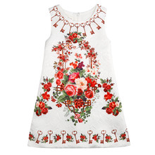 New model girl dress baby girl summer dress of 2 years old girl fancy flower dress