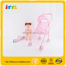 Factory direct best selling cute plastic baby dolls toys with stroller