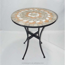 Round Metal Garden Table, Folding Mosaic Tabe
