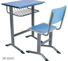 Modern metal frame single cheap attached school desks and chair