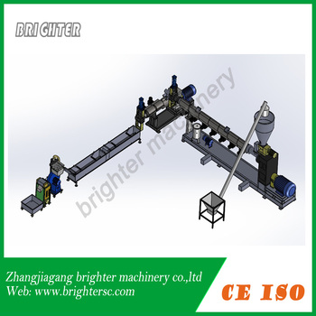 Rigid regrinded plastic flakes granulation line ,double stage ,string type
