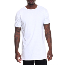 White plain blank long line oversized men t shirt