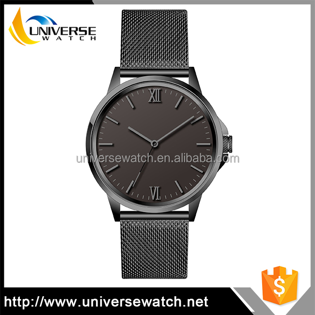 High quality unisex stainless steel mesh band custom logo watch