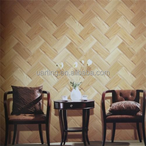 3d bamboo chip wood texture vinyl/pvc home / hotel / restaurant wallpaper