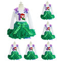 Ariel Princess Green Pettiskirt Plus Embroidered Bling Purple 1 2 3 4 5 6 Birthday Long sleeves Pettiop Party Dress 1-7Y