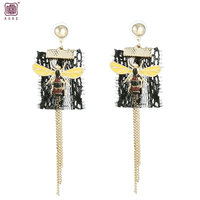 Top hot selling earring jewelry artificial bee and small craft tassel for spring summer season