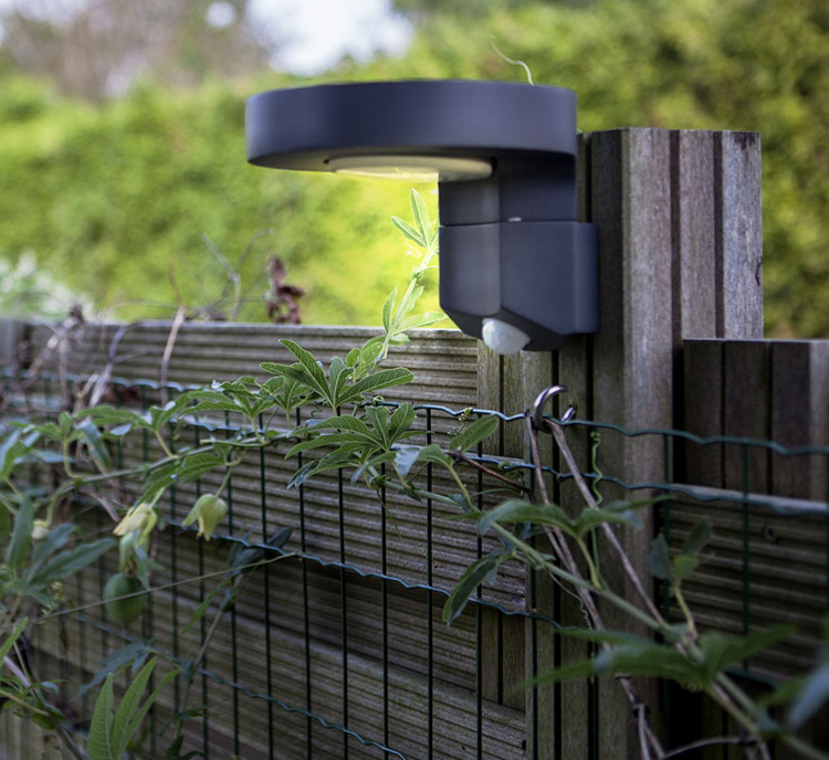 Modern outdoor Round IP65 motion sensor LED wall solar light for Garden