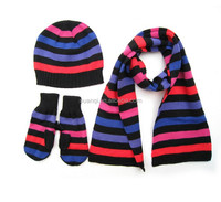 Winter Warm Cute Colorful Striped Knit Hat Scarf Gloves Set for kids