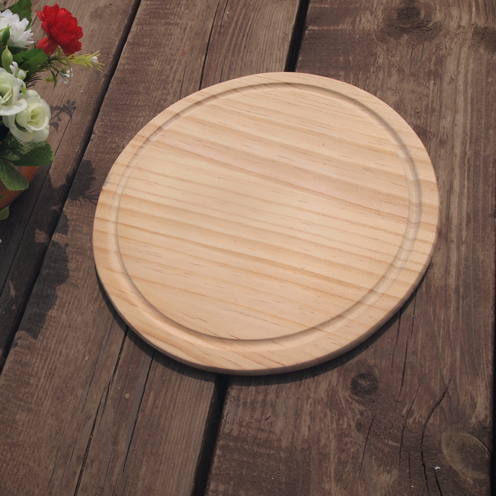 New design factory price handmade round wooden pizza tray