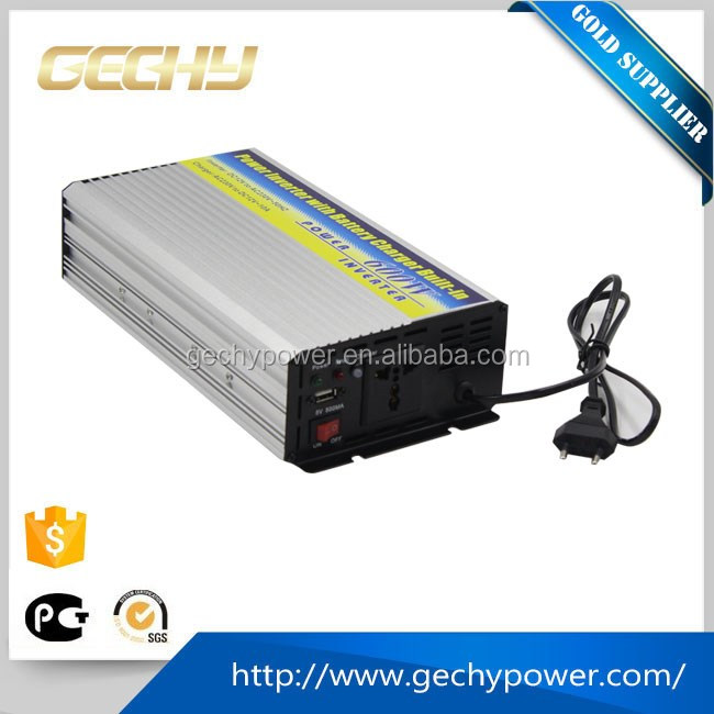 HYISC-600W single phase DC to AC intelligent car power inverter with USB port+battery charger+solar controller 3 in 1 china