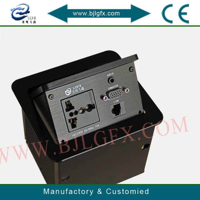 Brush Cable Cubby with Universal power and RJ45