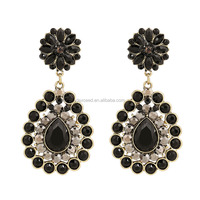 Christmas Gift Flower Earrings for Women Black Acrylic Resing Gemstone Earring