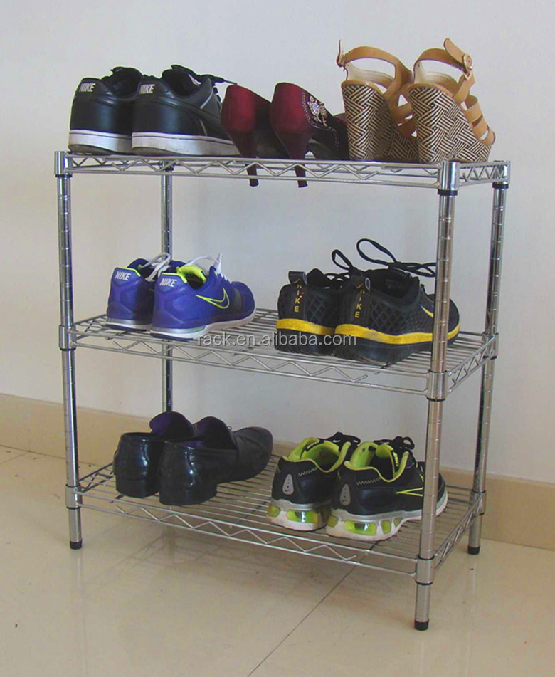 SGS Approval 3 Tiers Chrome Shoes Rack-15 Years Shelving Experiences