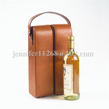 brown portable faux leather 2 bottle wine carrier