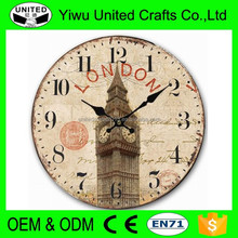 2016 cheap printing wood frame wall clock for home decoration