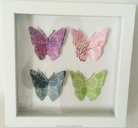 3d butterfly with mirror framed wall art canvas painting pictures for room decorative canvas art work drop shipping