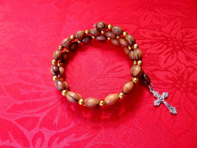 olive wood Swirl Bracelet/bracelet olive wood rosary with cross hand made by christian families in the holy land