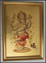 Gold foil India God picture/Religious gold foil poster with picture frame