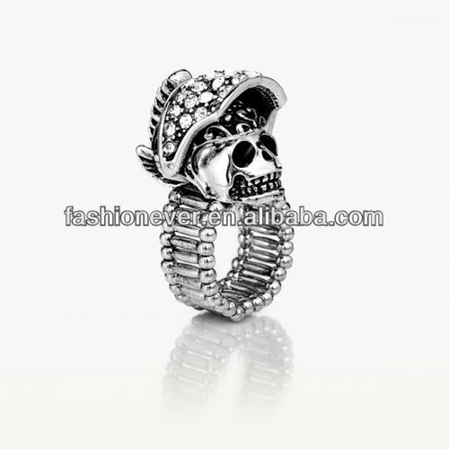 Silver Plated Pave Clear Rhinestone Helmet Skull Cocktail Stretch Ring