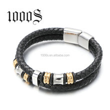 Wholesale Fashion Jewelry 316l Stainless Steel Mens Leather Bracelet