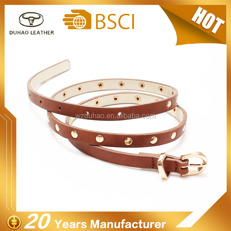 Female pu leather skinny belts with shinny metal rivets for garments decoration