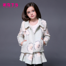 Winter Baby Girl Clothing Set 2 Piece Set Clothes Wool Coat + Pleated Skirt