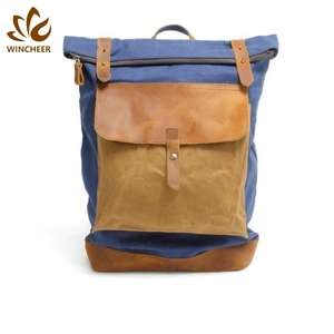 High-grade camping college rucksack travelling bag custom waxed canvas outdoor backpack sports leisure bags