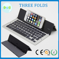 wireless 3 folds slim aluminum folding electronic bluetooth 3.0 keyboard for smartphone